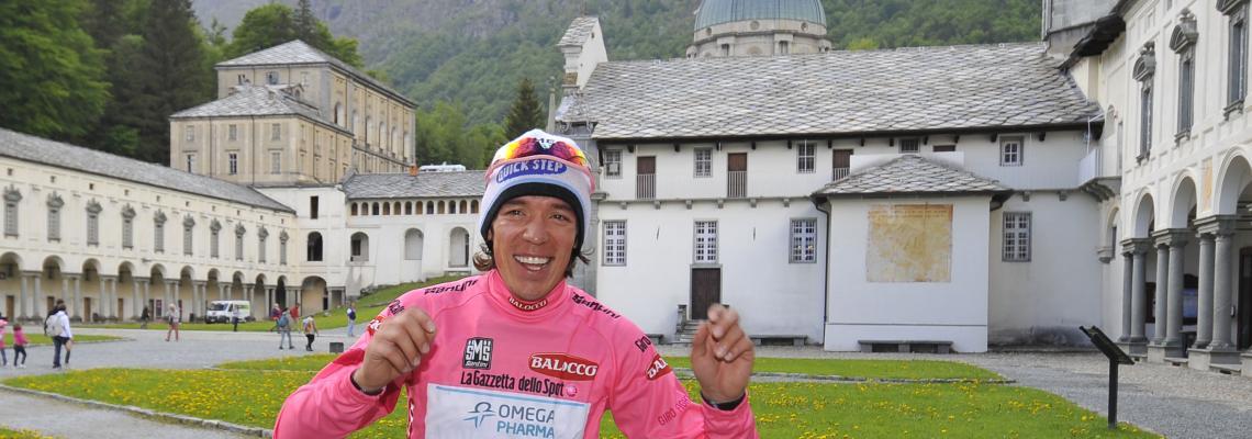 Rigoberto Uran, maglia rosa dopo la tappa con arrivo a Oropa del 2014